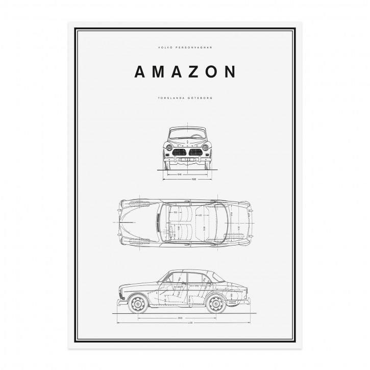 Volvo Poster Amazon 500x700mm Strichzeichnung