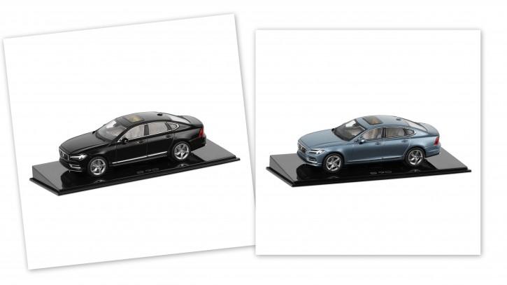 Modellauto New Volvo S90 Onyx-schwarz / Mussel Blue 1:43