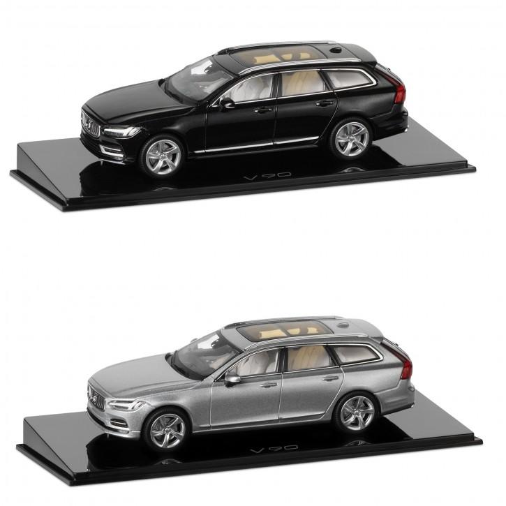 Modellauto New Volvo V90 Onyx-schwarz / Silber 1:43